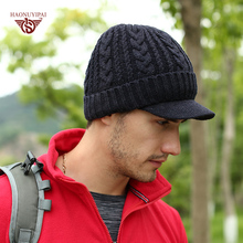 Фотография Brand New Winter Skullies Beanies With Brim For Men Women Fashion HNYP Cap Keep Warm Snow Hat Unisex Cheap Discount
