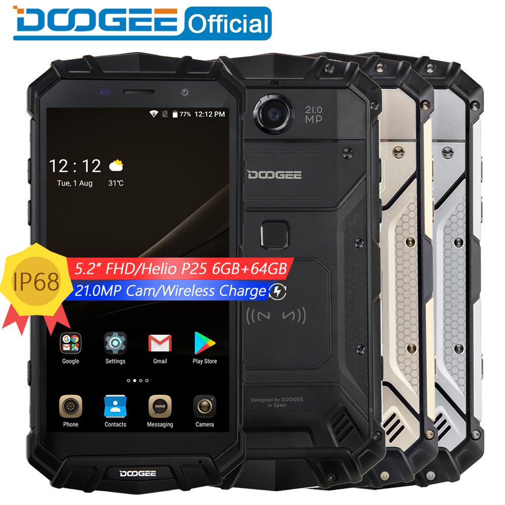 Настоящее IP68 DOOGEE S60 Беспроводной Charge 5580 мАч 12V2A Quick Charge 5,2 ''FHD Helio P25 Восьмиядерный 6 ГБ 64 ГБ смартфон 21.0MP Камера