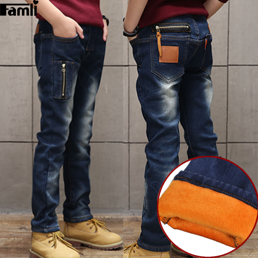 Famli Kids Winter Jeans Boys Thick Fleece Lined Trousers Children Warm Winter Plus Velvet Denim Pants Teenager Casual Jeans japan style brand mens straight denim cargo pants biker jeans men baggy loose blue jeans with side pockets plus size 40 42 44 46