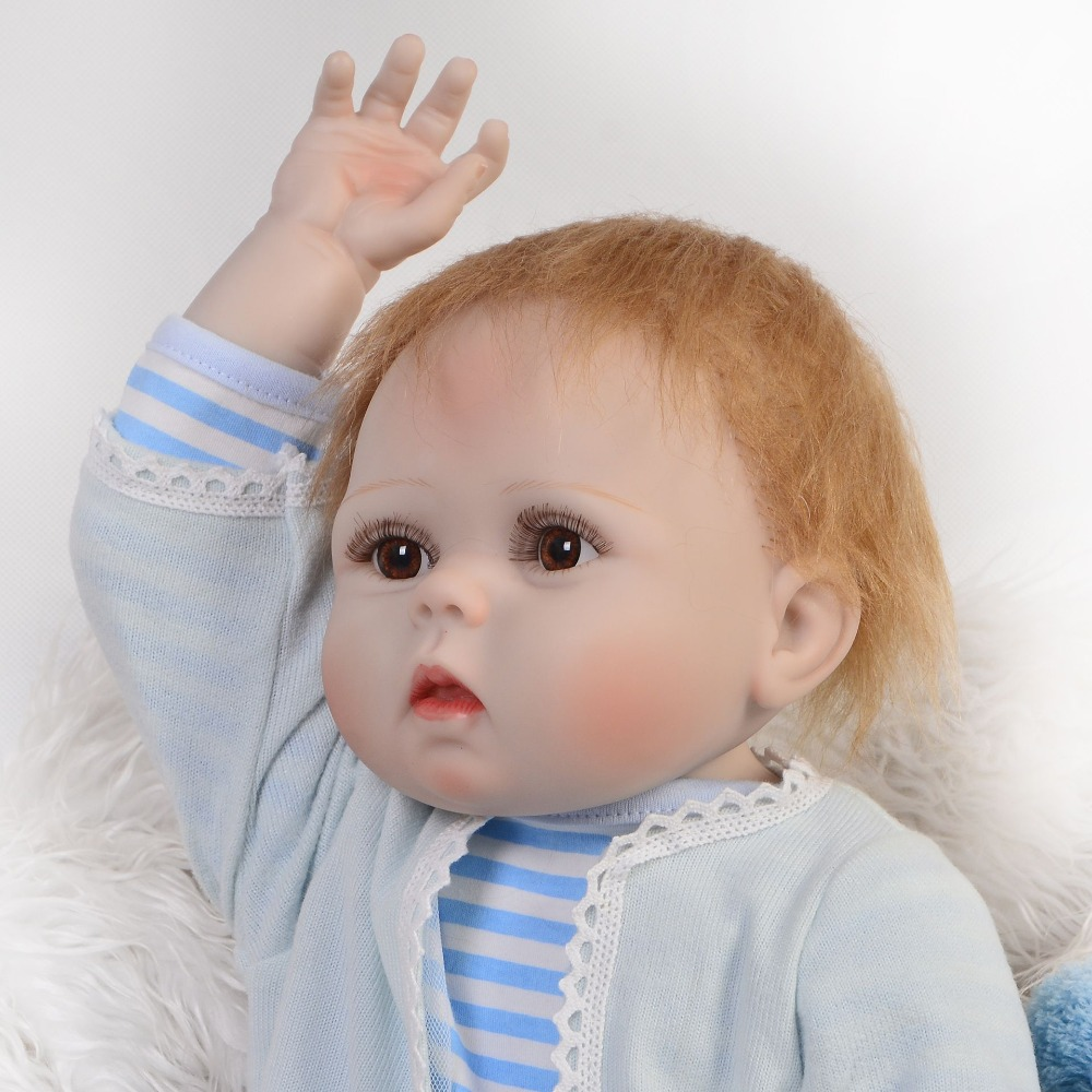 Full silicone reborn baby dolls 57cm lifelike newborn boy bebe alive dolls birthday gift  child menino bebe real reborn bonecas
