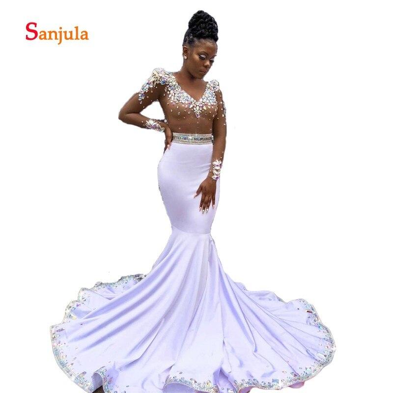 Sheer Tulle Long Sleeve White   Prom     Dresses   V Neck Dazzling Rhinestones Luxurious   Prom   Gowns Mermaid Formal   Dresses   2019 D805