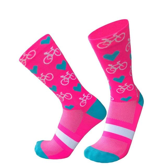 Novo esporte profissional pro meias de ciclismo meias de compressão de estrada meias de bicicleta de montanha meias de corrida padrão de coração 5