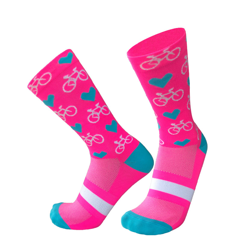 New Professional Sport Pro Cycling Socks Men Women Compression Road Bicycle Socks Mountain Bike Socks Racing Socks Heart Pattern