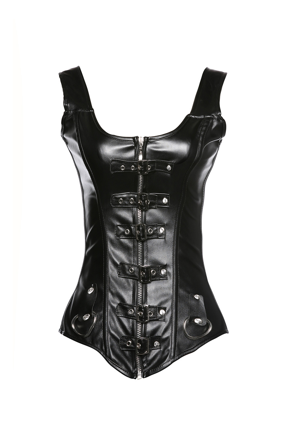 Black Faux Leather   Corset   PVC   Corset   Steampunk   Corsets   and   Bustiers   Corsetto Zipper Gothic   Corsets   Corselet 918