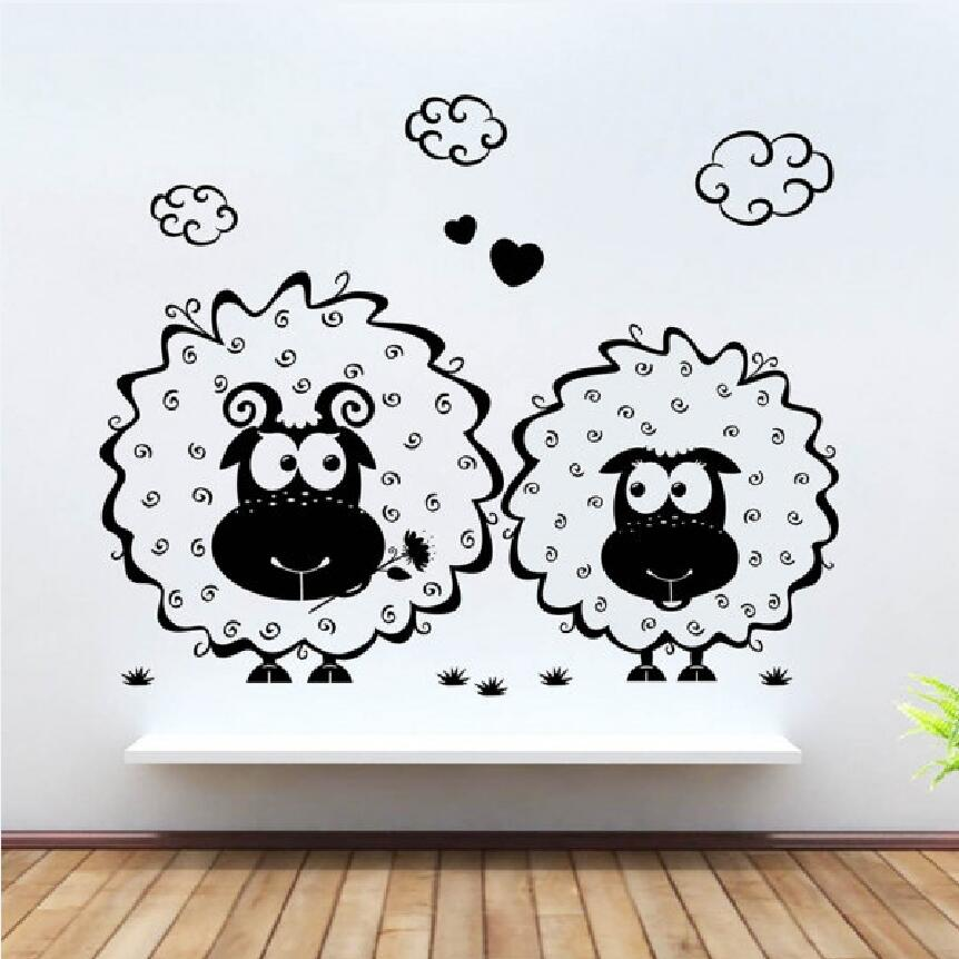 Buy removable little sheep cute wall - Childrens bedroom wall stickers removable ...