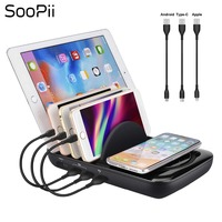 Free shipping SooPii Multi Port USB Charging Station with Qi Wireless Charging Pads Charger Station for Smartphones and Tablets