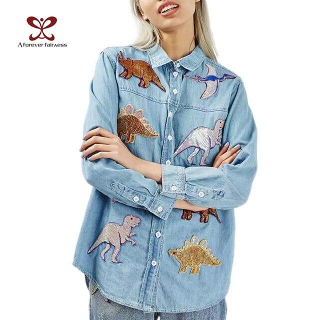 2017 Jesień Nowych Kobiet Moda Zwierząt Cekiny Poprawki Haftowane Długim rękawem Koszuli Denim Kobiet Sweter Wykańczający Bluzki M240