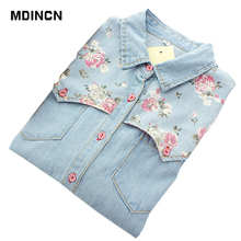 MDINCN 2020 Casual Ladies Denim Shirt Large Size Slim Blouse