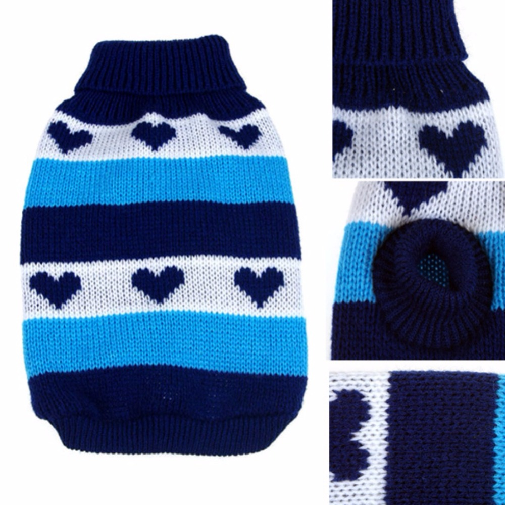 Pet Dog Cat Sweater Heart Stripes Pattern Outerwear Knit Sweater ...