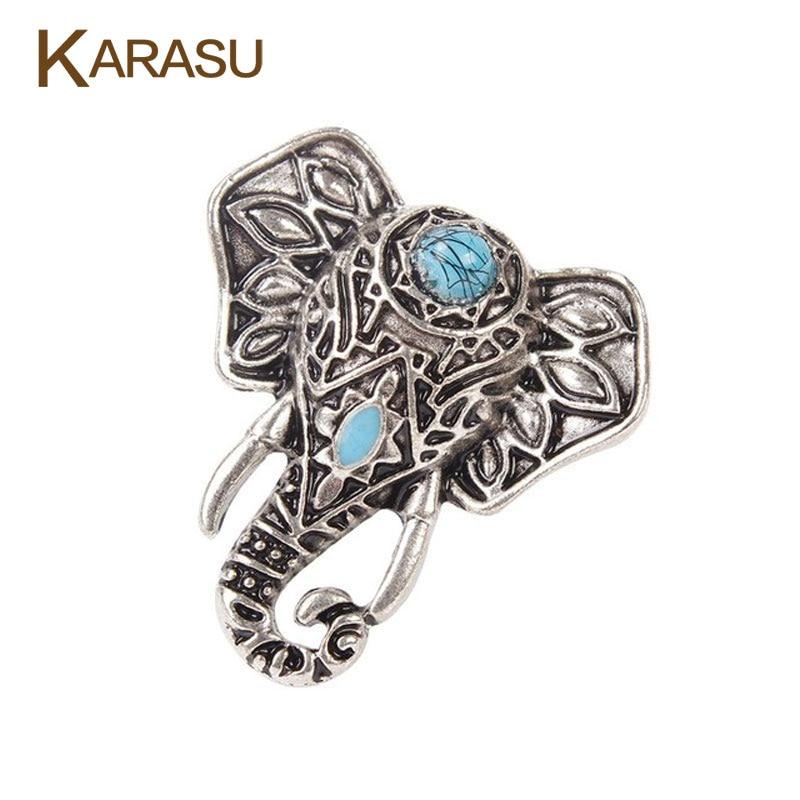 KARASU Vintage Ethnic Bohemian BOHO Ring Elephant Anillos De Animales Bague Ancient Silver Punk Women Jewelry