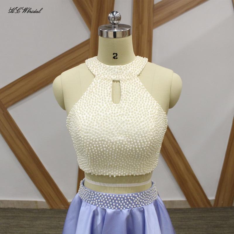 2018 Lavendel Korta Prom Klänningar O Hals Off The Shoulder 2 Piece - Särskilda tillfällen klänningar - Foto 4