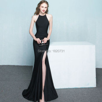 2020 Elegant Black and Red Sexy Evening Dresses Mermaid Halter Side Slit Two Pieces Formal Party Banquet Robe De Soiree Longue
