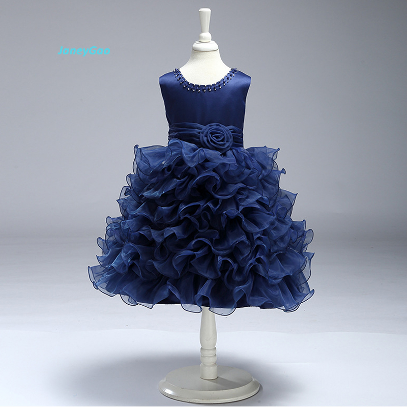 JaneyGao 2019 New   Flower     Girl     Dresses   For Wedding White Blue Yellow Color Fashion Princess Kids Formal Gown First Communion