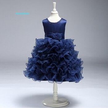 87892eb125dd9 JaneyGao 2019 Yeni Çiçek Kız Elbise Düğün Için Beyaz Mavi Sarı Renk Moda  Prenses Çocuklar Örgün elbise İlk Communion