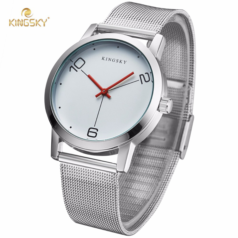 KingSky Luxury Women Watches Ladies Simple Quartz Watch Men Clock Silver Stainless Steel Bracelet Dress Watch relogio feminino women watches women kingsky top luxury brand quartz watch white simple leather casual fashion watches clock relogio feminino