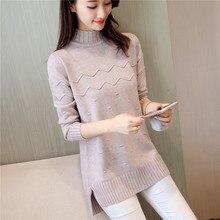цена на Women's Half Turtleneck Sweater 2019 Winter New Solid Color Loose Sweater Trendy Long Sleeve Pullover Temperament