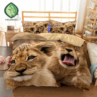 HELENGILI 3D Bedding set Lion Print Duvet cover set lifelike bedclothes with pillowcase bed set home Textiles #2 01