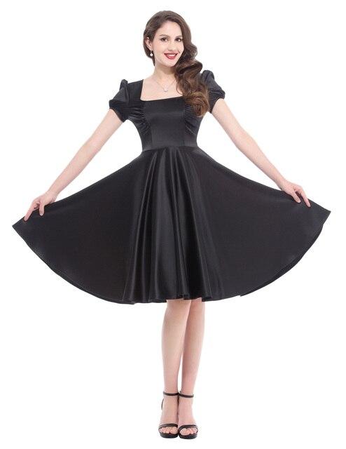 bdba3efed23 2018 Audrey Hepburn Dress Women Satin Puff Sleeve Summer Casual Vestido  Vintage 50s Swing Pinup Rockabilly Dresses