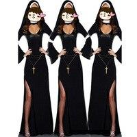 Ретро Горячая хэллоуин косплей М, L Мода Черный Костюм Женщины сексуальная монашка костюм Винил Косплей Хэллоуин Длинные Костюм