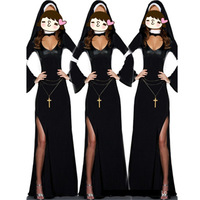 Retro Hot halloween cosplay M, L Fashion Black Costume Women sexy nun costume Vinyl Cosplay Halloween Long Costume