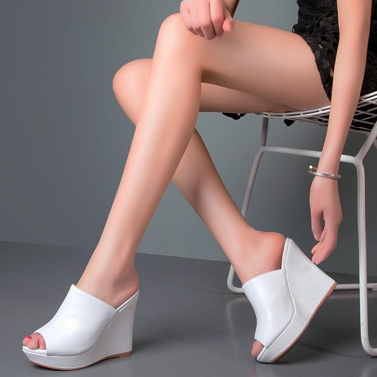 Verano Sandalias Calzado Cuero De Abierta Cuñas Alto blanco Genuino Zapatillas {zorssar} Diapositivas Tacón Mujer Negro Punta Zapatos SFRfqRdw4