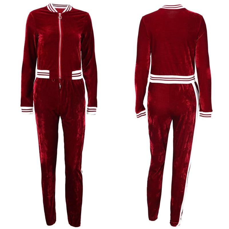 2 TWO PIECE SET Casual Tracksuit Velour Jacket Zipper For Women Pants Track Suit Long Sleeve Sweatsuits Large Plus Size Winter 3