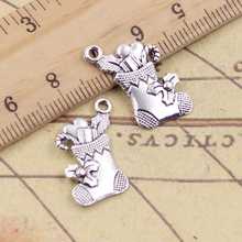 10pcs/lot Charms Christmas Stocking 20x18mm Tibetan Pendants Antique Jewelry Making DIY Handmade Craft For Bracelet 12pcs lot charms retro camera 15x14mm tibetan pendants antique jewelry making diy handmade craft for bracelet necklace
