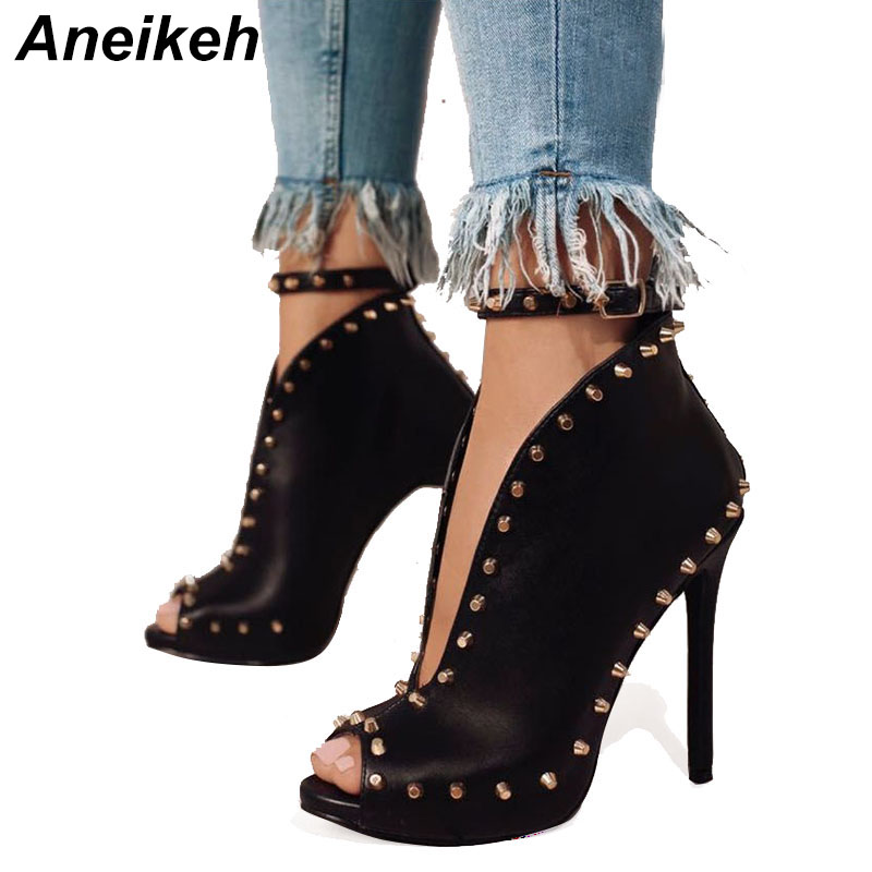New Europe Popular Street Beat Rivet Shoes Fish Mouth High heeled Catwalk sexy Rome Ankle Buckle Strap PU Heel 12cm Woman Pumps