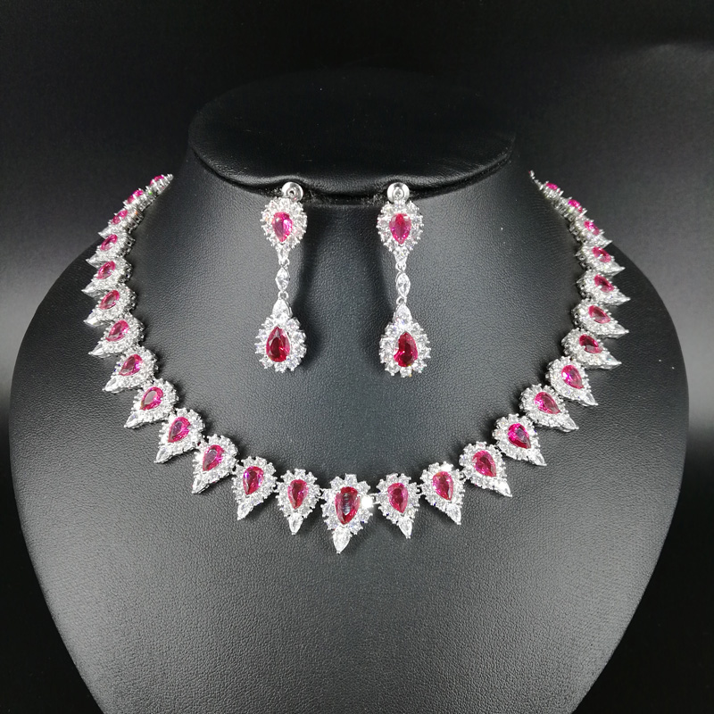 все цены на NEW FASHION elegant retro RED water drop zircon necklace earring wedding bride banquet dress formal jewelry set free shipping