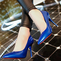 lady Spring shoes 2016 Leather High Heels shoes women patent leather lady office career pumps OL party evening dress shoes