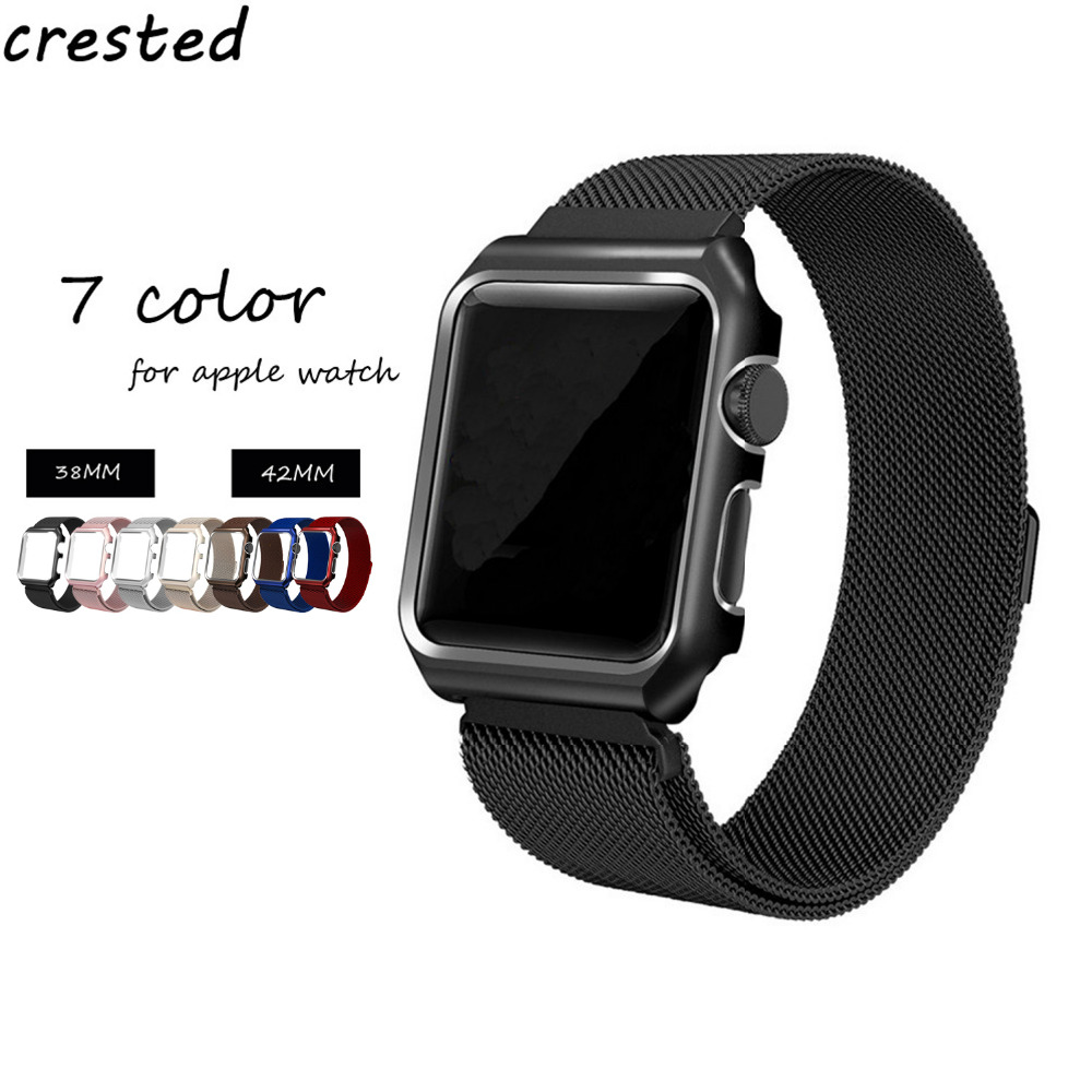 цены на CRESTED Milanese Loop strap For Apple Watch band 42mm/38mm Link Bracelet magnetic clasp band for iwatch 3/2/1 with metal case в интернет-магазинах
