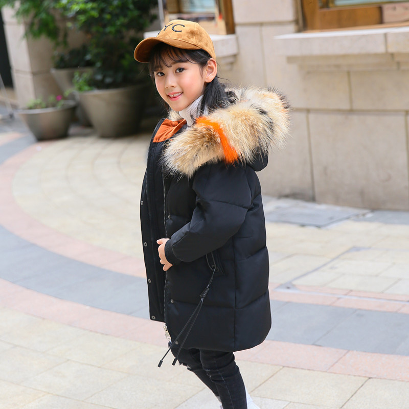 2018 New Girls Winter Coat Kids Down Jackets Long Hooded Jacket Outerwear Children Clothes Fashion Down Coat for Girl 5-12T стоимость