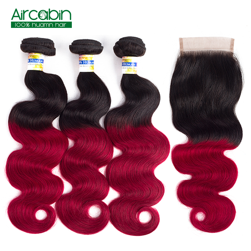 Ombre Peruvian Body Wave 3 Bundles with Closure Pre-Colored T1B/Red Dark Roots Non Remy Human Hair Extensions AirCabin