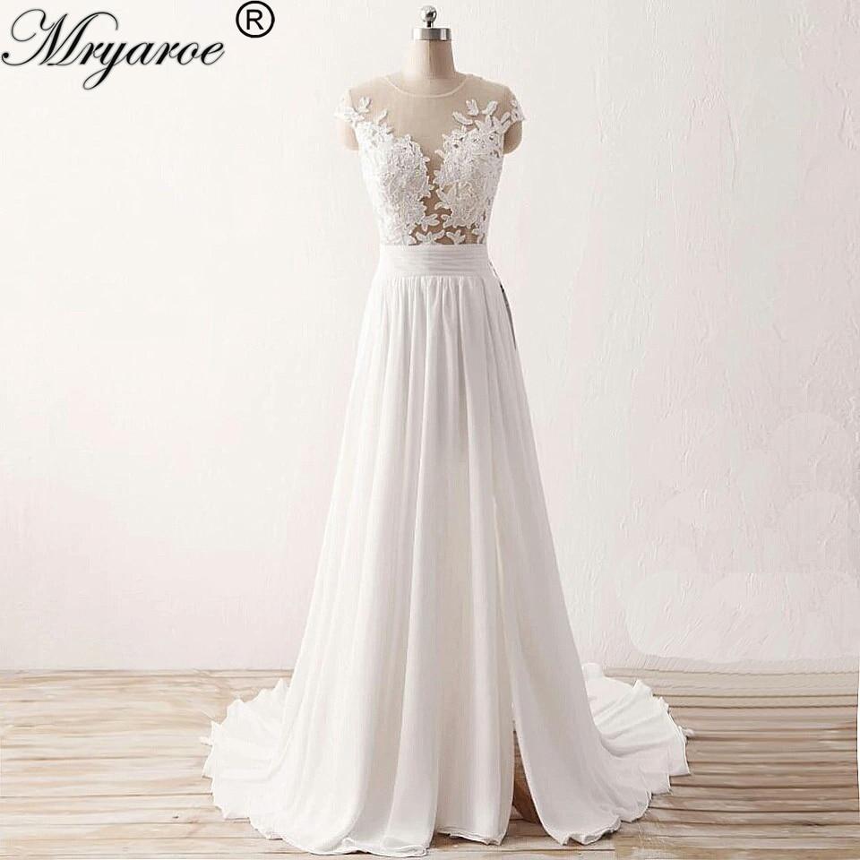 Mryarce Beach Wedding Dress 2019 Sheer Bodice Lace Appliqued Flowing Chiffon Split Bridal Gowns With Cap