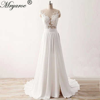 Mryarce Beach Wedding Dress 2019 Sheer Bodice Lace Appliqued Flowing Chiffon Split Bridal Gowns With Cap Sleeves - DISCOUNT ITEM  20% OFF Weddings & Events