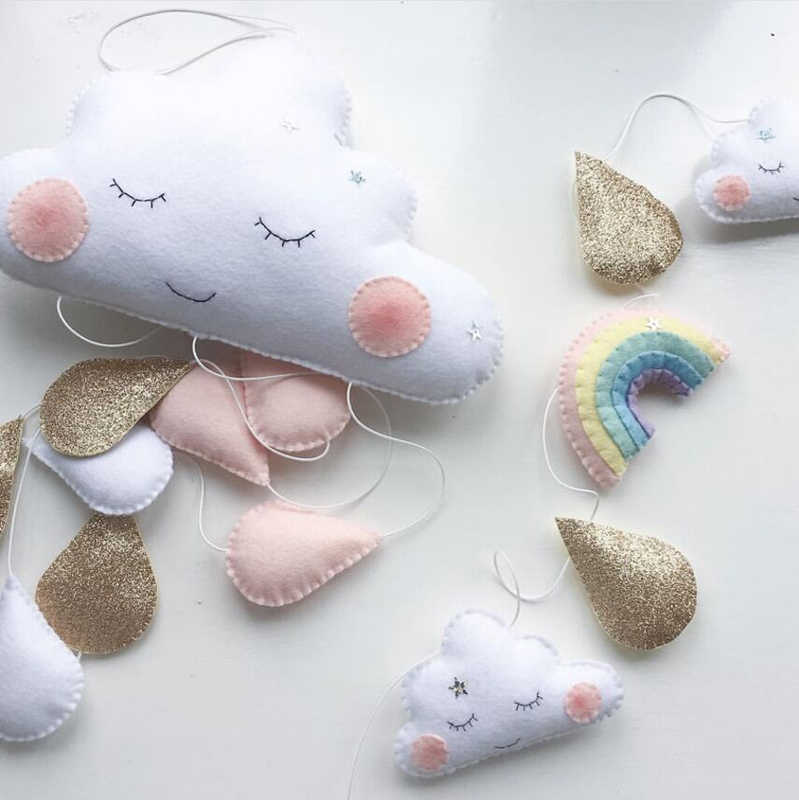 Home decoration Nordic children tent decoration cloud felt raindrop pendant kids room decoration Smiles Photography Props