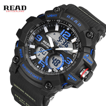 цены READ Men's sport Military Army watch Dial Large Digital Clock silicone strap Wristwatch Back Light Alarm hour stop watch for man