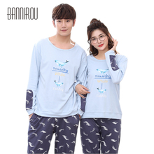 2018 Spring Couple Pyjama Set Cotton Animal Whale Full Blue Matching Pajama For Lovers Man Woman Home Wear His-and-her Nightwear