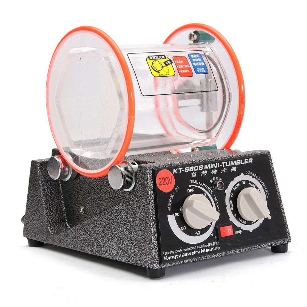 180W Vaso Giratorio Vaso Joyer/ía pulidor finalizador 5KG Profesional Mini Joyer/ía Pulido M/áquina con Grano de Pulido Libre