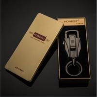 USB Rechargeable Metal Keychain Electronic Cigarette Cigar Lighter Key Rings Keyfob Keyring For Car BMW VW