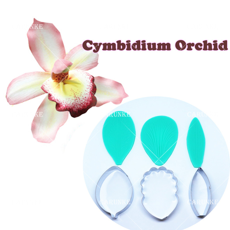 Cymbidium Orchid Petal Flower Cutter Cake Decorating Tools Fondant Mould Cattleya Orchid Petal Veiners Mould