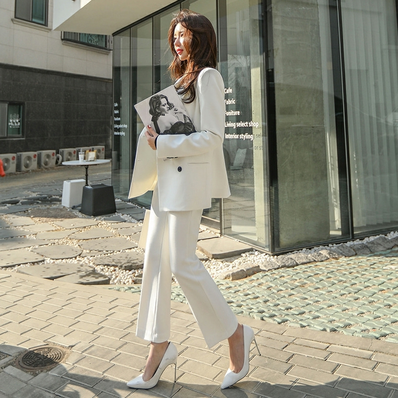 Fashion Spring And Autumn New Professional Slim Small Suit Set Temperament White Suit Nine Pants Two Sets Of Women Suit