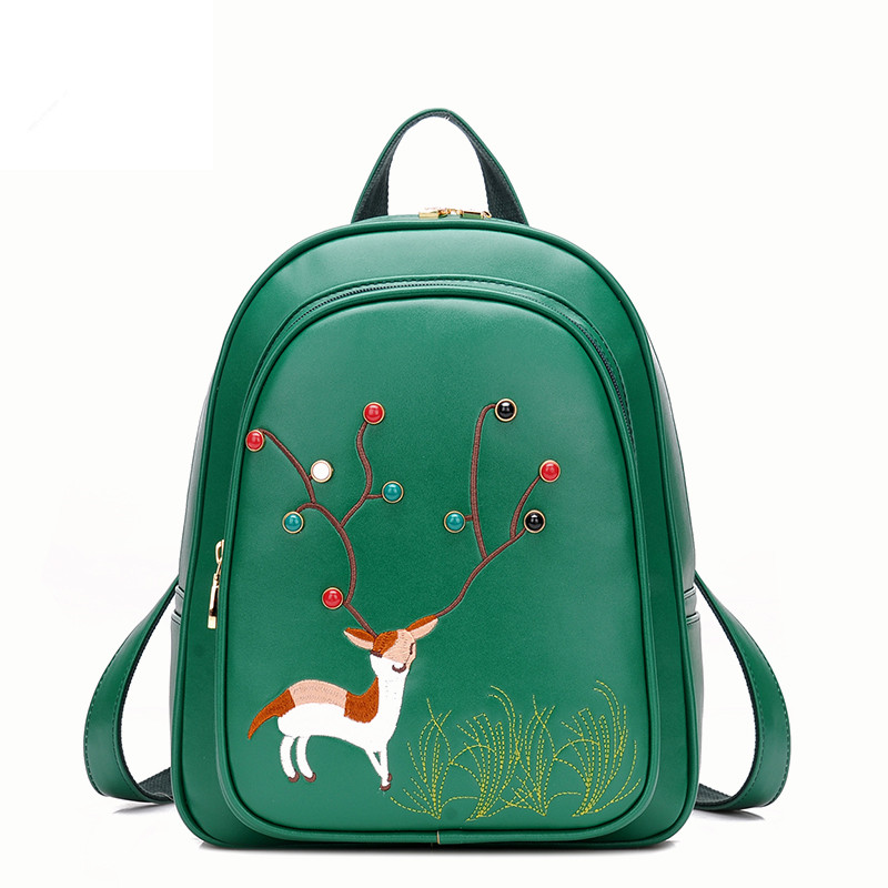 Brand Deer Pattern Embroidery Backpacks Women High grade Leather Backpack Fashion School Bags for Teenager Girls