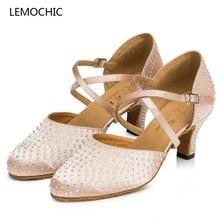 LEMOCHIC hot sale rhinestone rumba latin samba tango cha-cha ballroom salsa girl women pointe dance shoes best seller