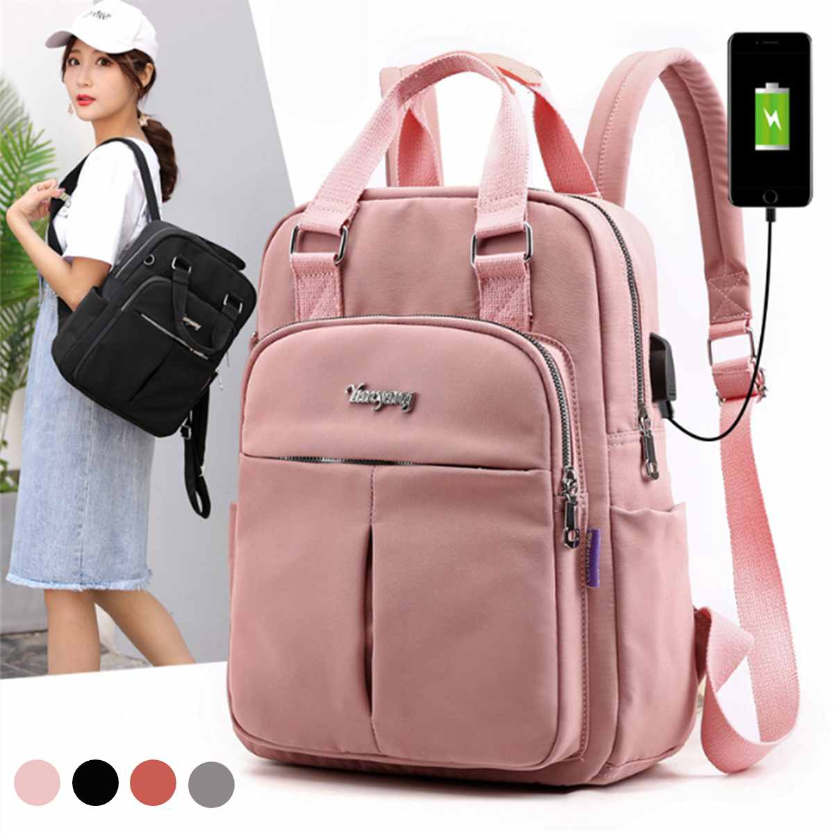 Women Nylon School Backpacks Anti Theft USB Charge Backpack Waterproof Bagpack School Bags For Teenage Girls Travel Bag New
