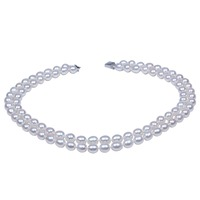 8 9mm Rice Shape Freshwater Pearl Beads Two Layer 925 Silver Necklace For Mom
