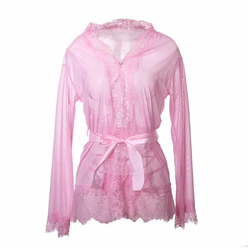 3d928a04233 ... Sexy V-Neck Babydoll Ladies See Through Bath Robes Sleepwear Women with  G-string