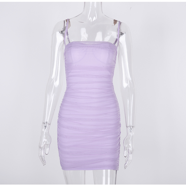 Colysmo Double Layers Summer Dress 2020 Women Spaghetti Straps Mini Dress Sexy Mesh Beach Dresses Woman Party Night Club Dress 4