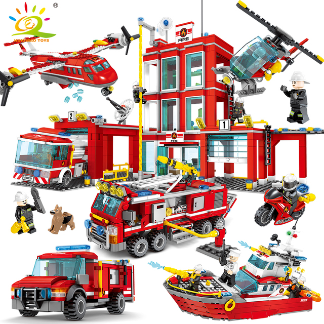Fire station Building Blocks Compatible legoingly city with Truck Helicopter firefighter Brick set Educational Toys For Children