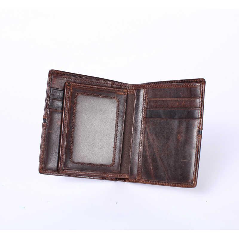 WESTAL portefeuilles sac à main en cuir de vachette véritable hommes portefeuille court porte-monnaie petit Vintage portefeuille marque de haute qualité Designer 7103